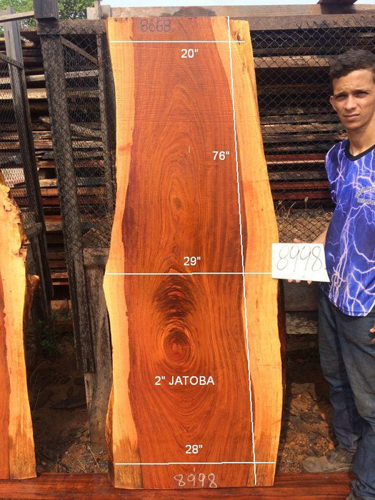 Jatoba / Brazilian Cherry #8998 – 2″ x 20″ to 28″ x 76″ FREE SHIPPING within the Contiguous US. - Big Wood Slabs