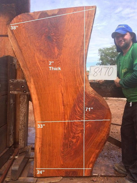 "Jatoba / Brazilian Cherry #8170- 2"" x 24"" to 38"" x 71"" FREE SHIPPING within the Contiguous US. - Big Wood Slabs"
