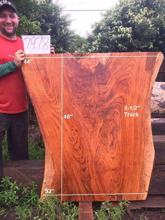 "Jatoba / Brazilian Cherry -  2-1/2"" x 32"" to 44"" x 46"" - Big Wood Slabs"
