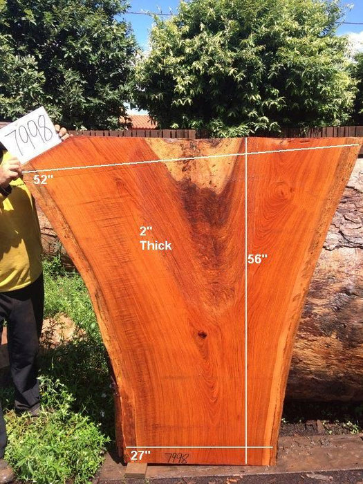 "Jatoba / Brazilian Cherry #7998 - 2"" x 27"" to 52"" x 56"" FREE SHIPPING within the Contiguous US. - Big Wood Slabs"