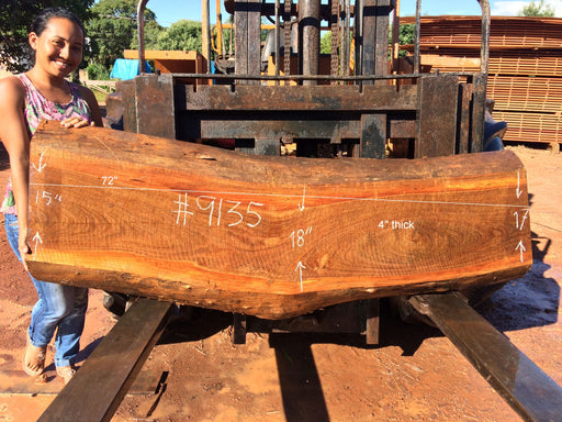 "Ipe / Brazilian Walnut #9135 - 4"" x 15"" to 18"" x 72"" FREE SHIPPING within the Contiguous US. - Big Wood Slabs"