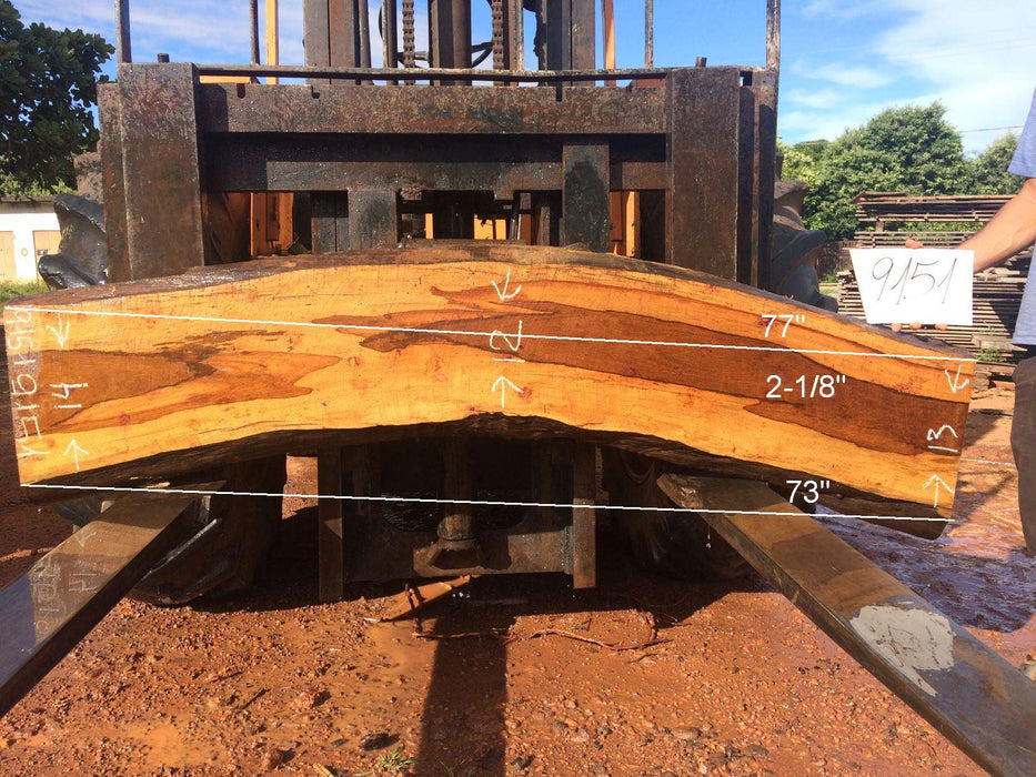 "Ipe / Brazilian Walnut #9151 - 2-1/8"" x 12"" to 14"" x 75"" FREE SHIPPING within the Contiguous US. - Big Wood Slabs"