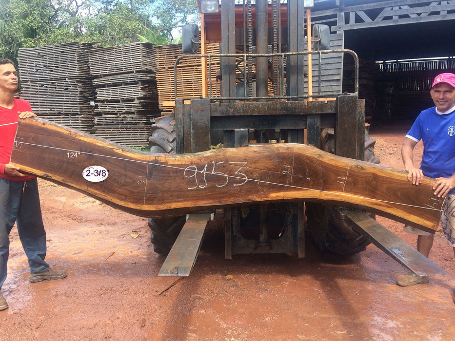 "Ipe / Brazilian Walnut #9153 - 2-3/8"" x 11"" to 16"" x 124"" FREE SHIPPING within the Contiguous US. - Big Wood Slabs"