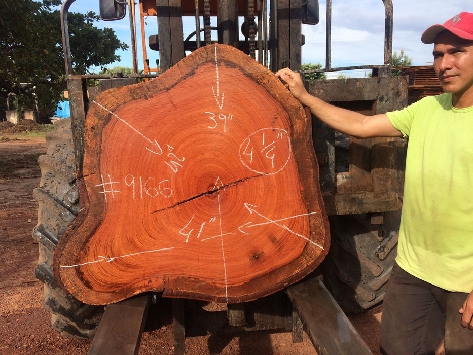 Jatoba / Brazilian Cherry #9166– 4-1/4″ x 10″ to 40″ x 42″ FREE SHIPPING within the Contiguous US. - Big Wood Slabs