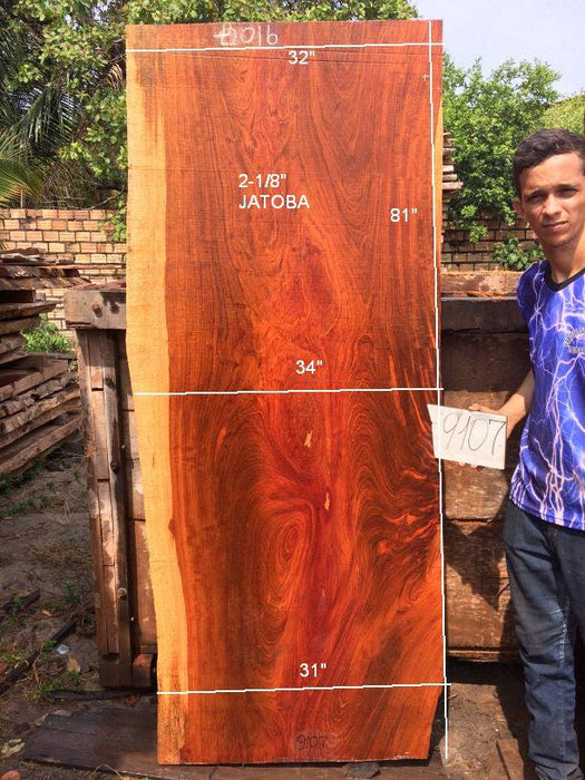 Jatoba / Brazilian Cherry #9107– 2-1/8″ x 31″ to 34″ x 81″ FREE SHIPPING within the Contiguous US. - Big Wood Slabs