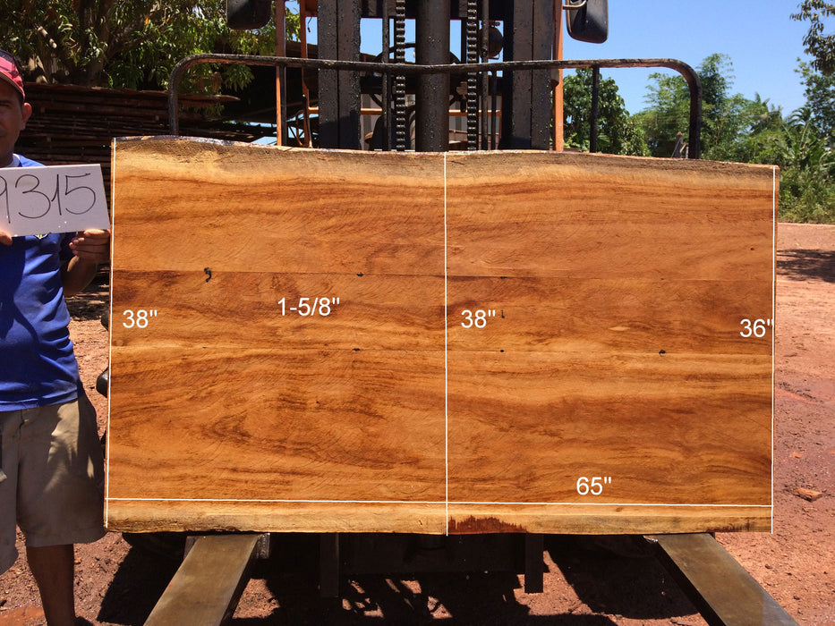 "Goncalo Alves / Tigerwood #9315 - 1-5/8"" x 36"" to 38"" x 65"" FREE SHIPPING within the Contiguous US. - Big Wood Slabs"