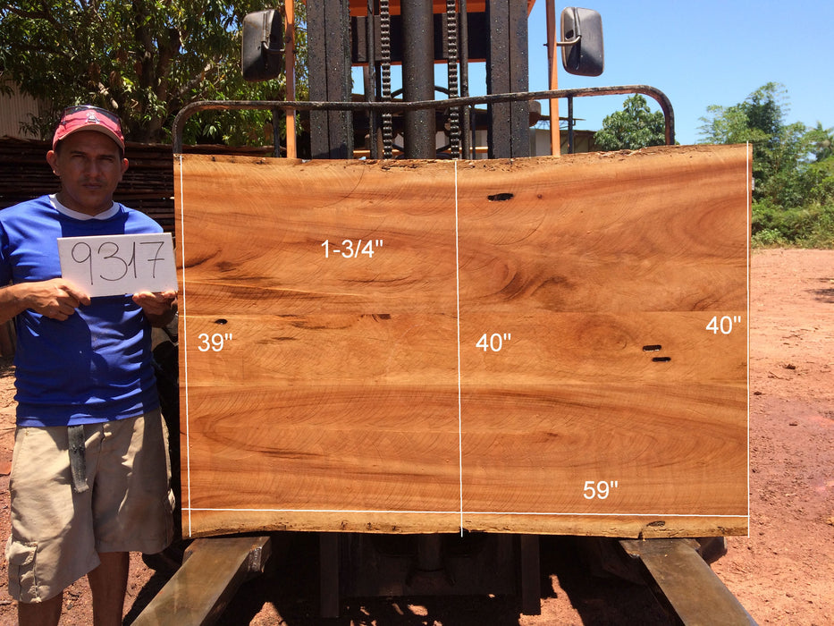 "Goncalo Alves / Tigerwood #9317 - 1-3/4"" x 39"" to 40"" x 59"" FREE SHIPPING within the Contiguous US. - Big Wood Slabs"