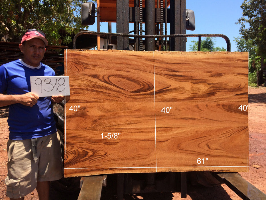 "Goncalo Alves / Tigerwood #9318 - 1-5/8"" x 40"" to 40"" x 61"" FREE SHIPPING within the Contiguous US. - Big Wood Slabs"