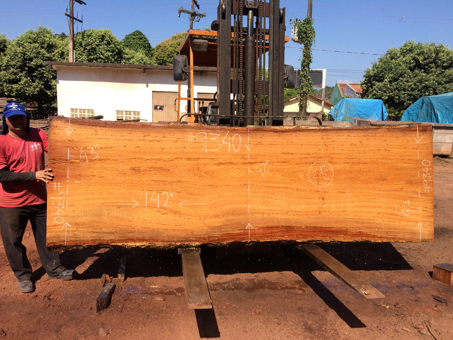 "Angelim Pedra #9340 - 2-1/2"" x 42"" to 46"" x 142"" FREE SHIPPING within the Contiguous US. - Big Wood Slabs"