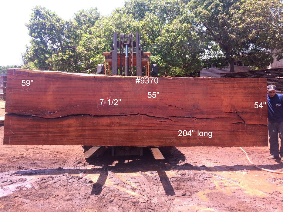 "Angelim Pedra # 9370 - 7-1/2"" x 54"" to 59"" x 204"" FREE SHIPPING within the Contiguous US. - Big Wood Slabs"
