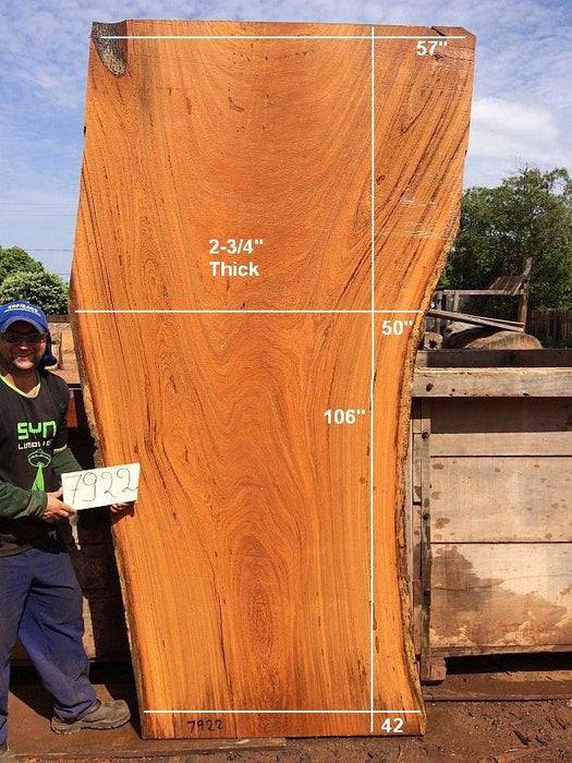 "Angelim Pedra #7922 - 2-3/4"" x 42"" to 57"" x 106"" FREE SHIPPING within the Contiguous US. - Big Wood Slabs"
