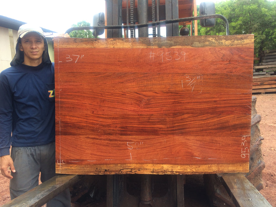 "Jatoba / Brazilian Cherry # 9539 – 1-7/8 x 37"" to 38″ x 53″ FREE SHIPPING within the Contiguous US. - Big Wood Slabs"