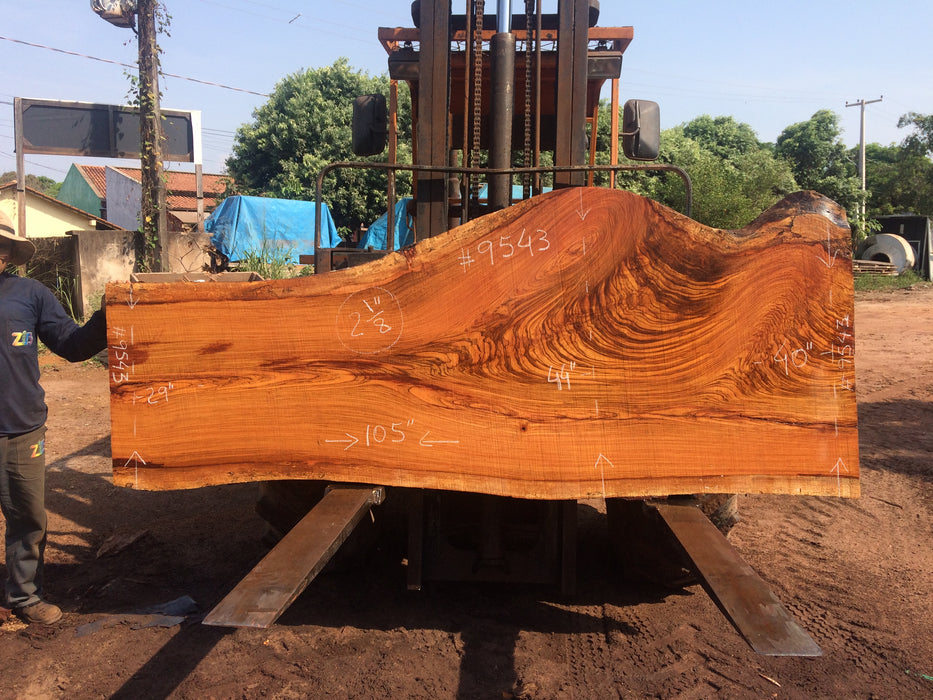 "Jatoba / Brazilian Cherry # 9543 – 2-1/8 x 29"" to 44"" x 105″ FREE SHIPPING within the Contiguous US. - Big Wood Slabs"