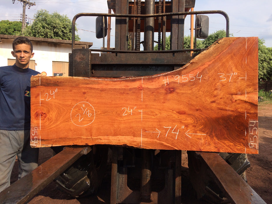 "Jatoba / Brazilian Cherry # 9554 – 2-1/8"" x 24"" to 37"" x 74″ FREE SHIPPING within the Contiguous US. - Big Wood Slabs"