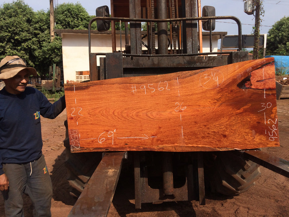 Jatoba-Brazilian Cherry – #9562 - 3-1/4″ x  22″ to 30″ x 69″ FREE SHIPPING within the Contiguous US. - Big Wood Slabs