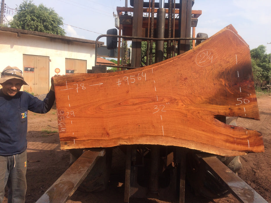 Jatoba-Brazilian Cherry – #9564 - 2-1/4″ x  29″ to 50″ x 78″ FREE SHIPPING within the Contiguous US. - Big Wood Slabs
