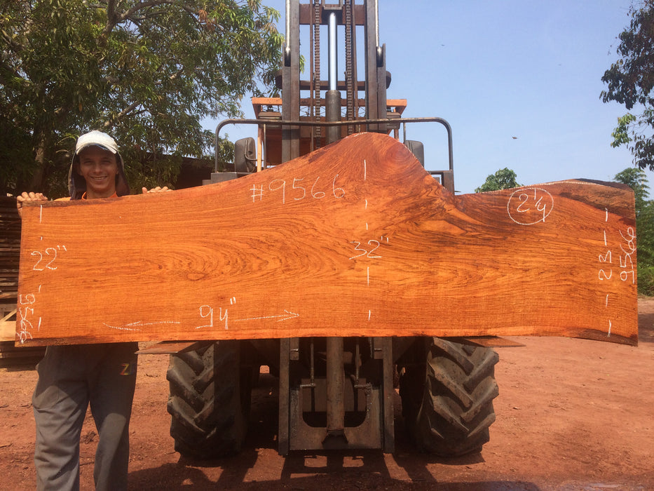 Jatoba-Brazilian Cherry – #9566 - 2-1/4″ x  22″ to 33″ x 94″ FREE SHIPPING within the Contiguous US. - Big Wood Slabs
