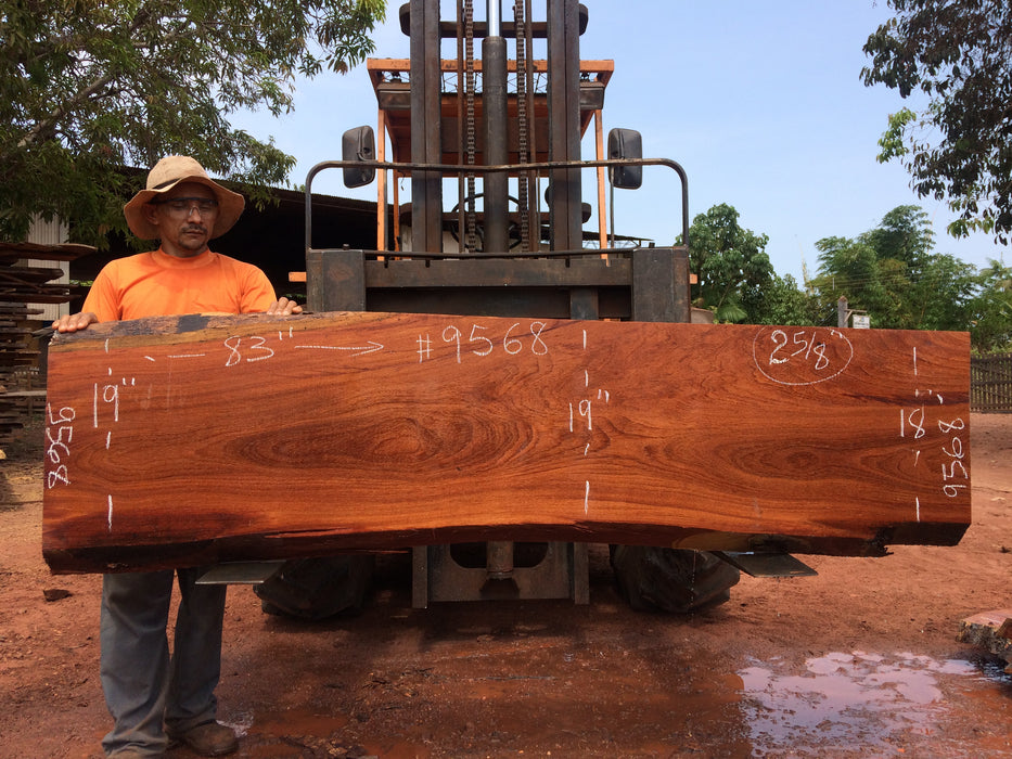 "Cumaru / Brazilian Teak #9568 - 2-5/8"" X 18"" to 19"" X 83"" FREE SHIPPING within the Contiguous US. - Big Wood Slabs"