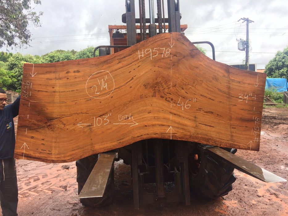 "Angelim Pedra # 9578 - 2-1/4"" x 34"" to 46"" x 102"" FREE SHIPPING within the Contiguous US. - Big Wood Slabs"