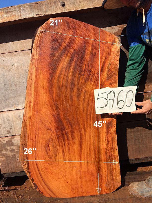 "Jatoba / Brazilian Cherry #5960- 2-1/4"" x 21"" to 26"" x 45"" FREE SHIPPING within the Contiguous US. - Big Wood Slabs"