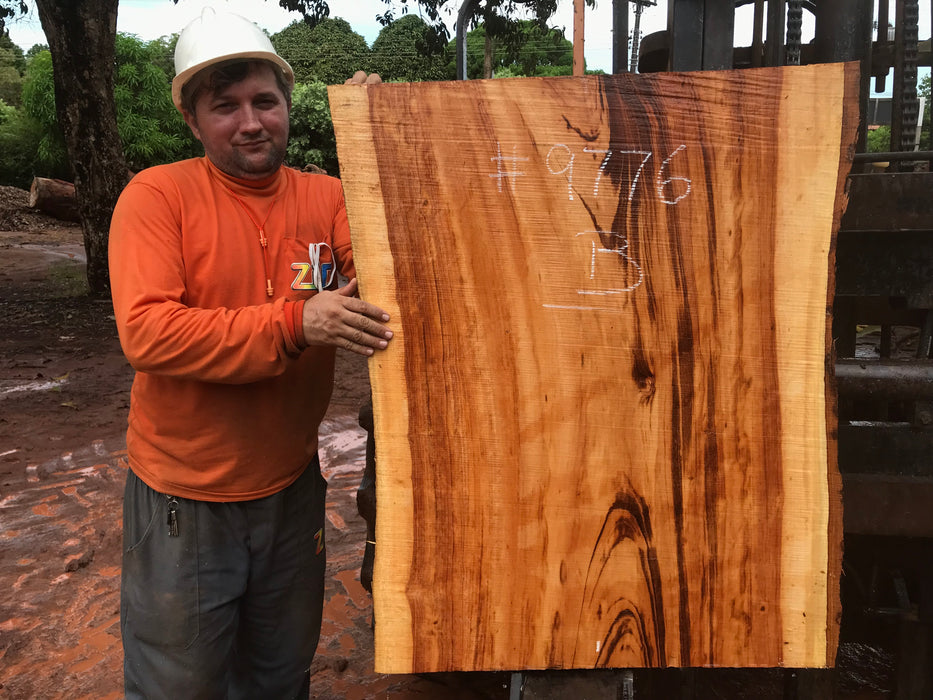 "Goncalo Alves / Tigerwood #9776- 2-1/2"" x 28"" to 30"" x 38"" FREE SHIPPING within the Contiguous US. - Big Wood Slabs"