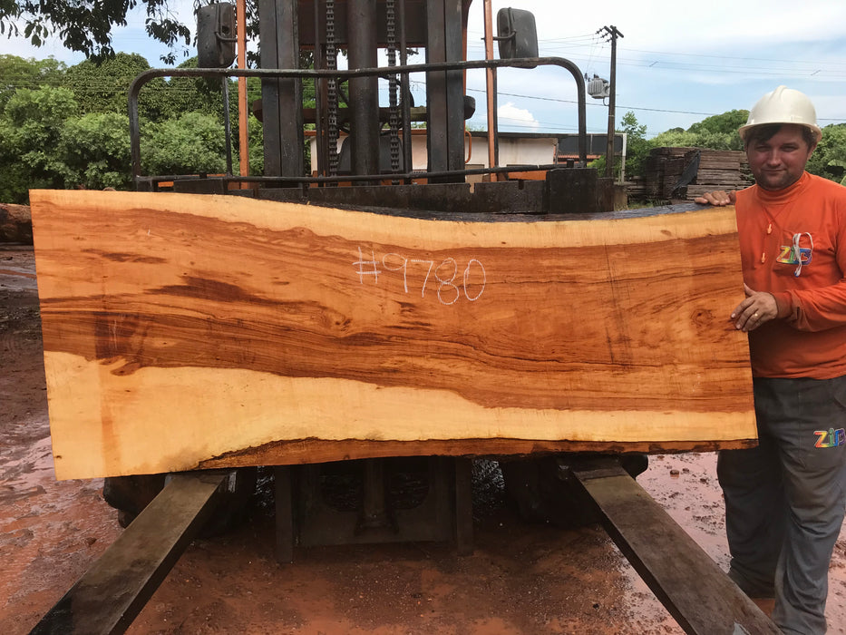 "Goncalo Alves / Tigerwood #9780- 2-1/4"" x 28"" to 33"" x 80"" FREE SHIPPING within the Contiguous US. - Big Wood Slabs"