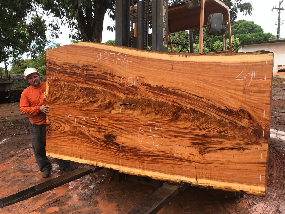 "Goncalo Alves / Tigerwood #9784- 2-1/4"" x 40""to 60""  x 112"" FREE SHIPPING within the Contiguous US. - Big Wood Slabs"