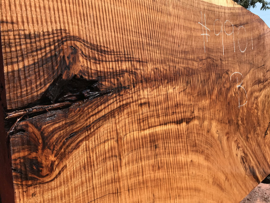 "Goncalo Alves / Tigerwood #9901 - 4-3/8"" x 34"" to 41"" x 76"" FREE SHIPPING within the Contiguous US. - Big Wood Slabs"