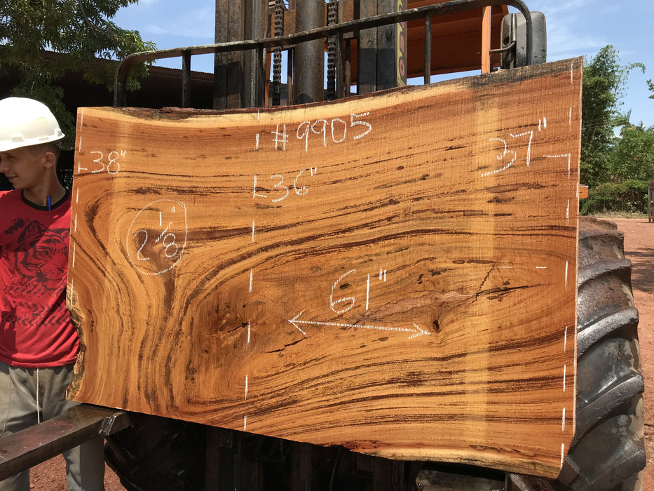"Angelim Pedra # 9905 - 2-1/8"" x 36"" to 38"" x 61"" FREE SHIPPING within the Contiguous US. - Big Wood Slabs"