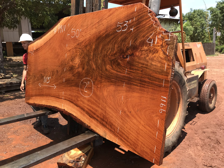 Jatoba-Brazilian Cherry – #9911 - 2″ x 42″ to 53″ x 113″ FREE SHIPPING within the Contiguous US. - Big Wood Slabs