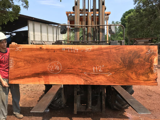 PRESIDENT'S SALE ITEM - Jatoba-Brazilian Cherry – #9914 - 2-1/8″ x 30″ x 112″ FREE SHIPPING within the Contiguous US. - Big Wood Slabs