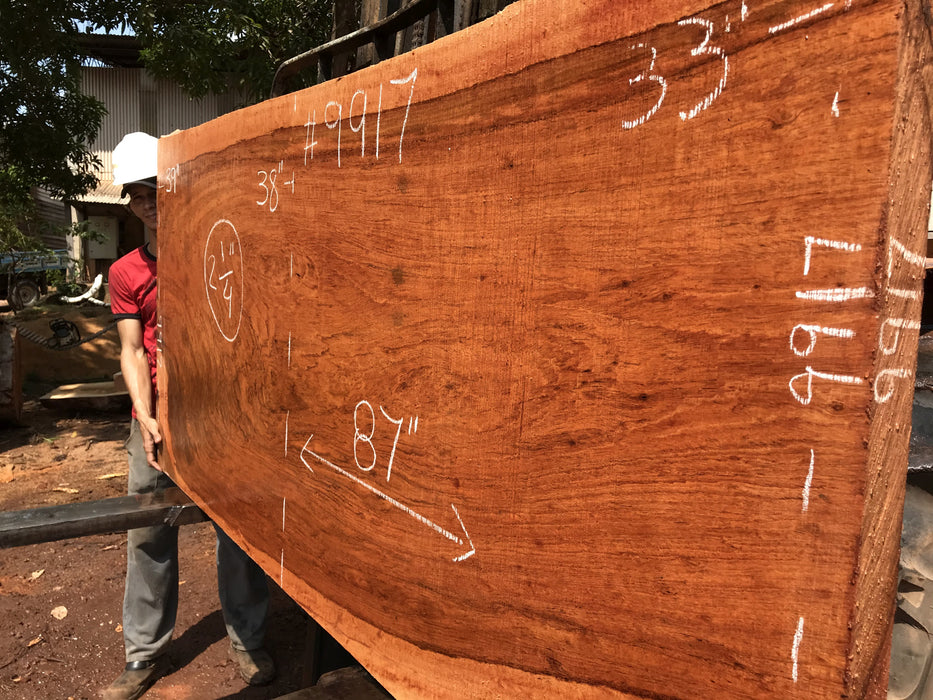 "Jatoba-Brazilian Cherry – #9917 - 2-1/4″ x 33″ to 39"" x 87"" FREE SHIPPING within the Contiguous US. - Big Wood Slabs"