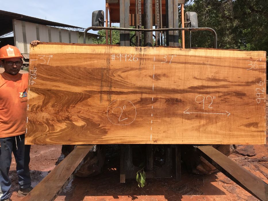 "Goncalo Alves / Tigerwood #9926- 2"" x 36"" to 37"" x 92"" FREE SHIPPING within the Contiguous US. - Big Wood Slabs"