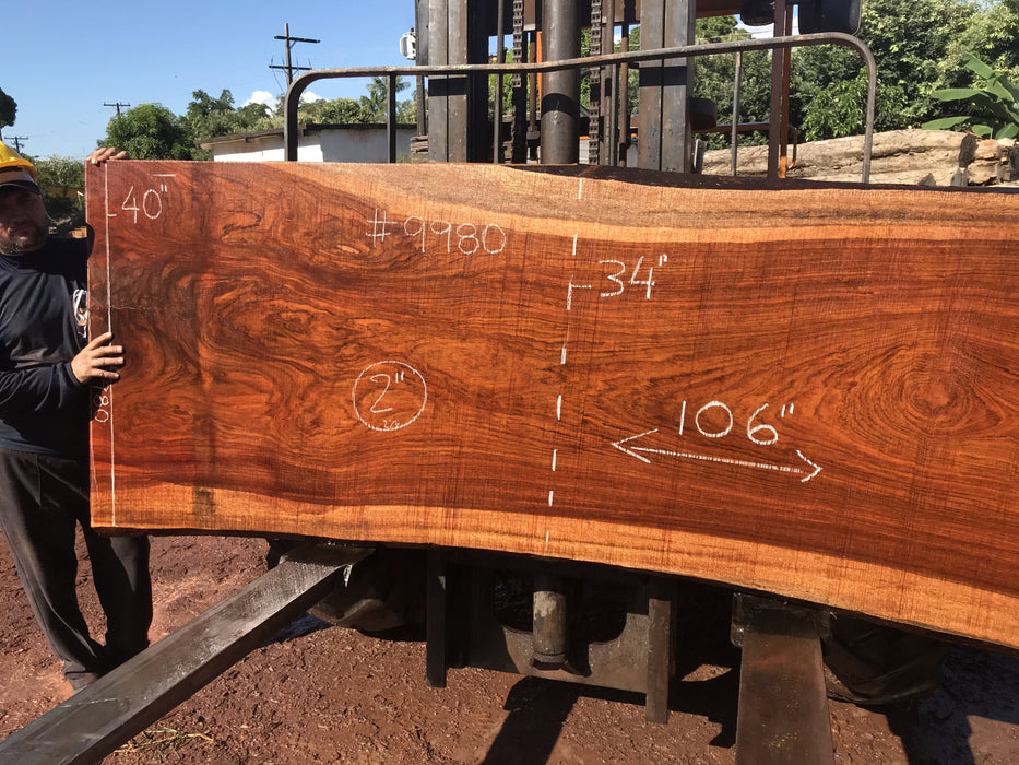 Jatoba / Brazilian #9980 – 2″ x 36″ to 40″ x 106″ FREE SHIPPING within the Contiguous US. - Big Wood Slabs