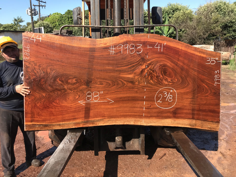 Jatoba / Brazilian #9983 – 2-3/8″ x 35″ to 44″ x 88″ FREE SHIPPING within the Contiguous US. - Big Wood Slabs