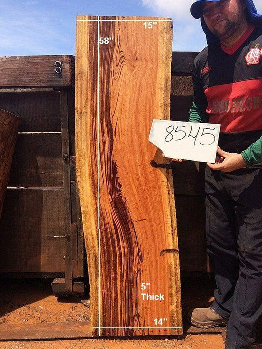 "Goncalo Alves / Tigerwood #8545 - 5"" x 14"" to 15"" x 58"" FREE SHIPPING within the Contiguous US. - Big Wood Slabs"