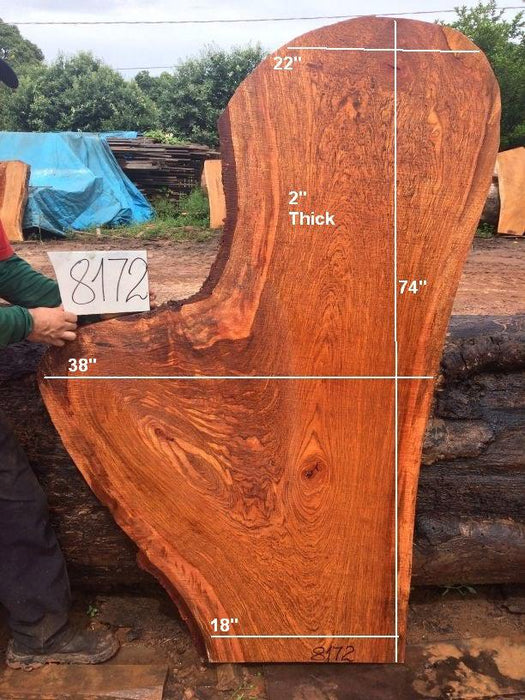 "Jatoba / Brazilian Cherry #8172- 2"" x 18"" to 38"" x 74"" FREE SHIPPING within the Contiguous US. - Big Wood Slabs"