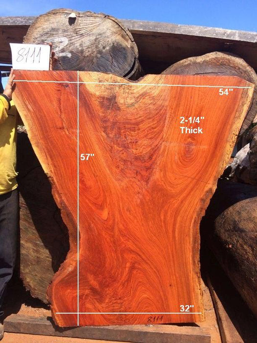 "Jatoba / Brazilian Cherry #8111- 2-1/4"" x 32"" to 54"" x 57"" FREE SHIPPING within the Contiguous US. - Big Wood Slabs"
