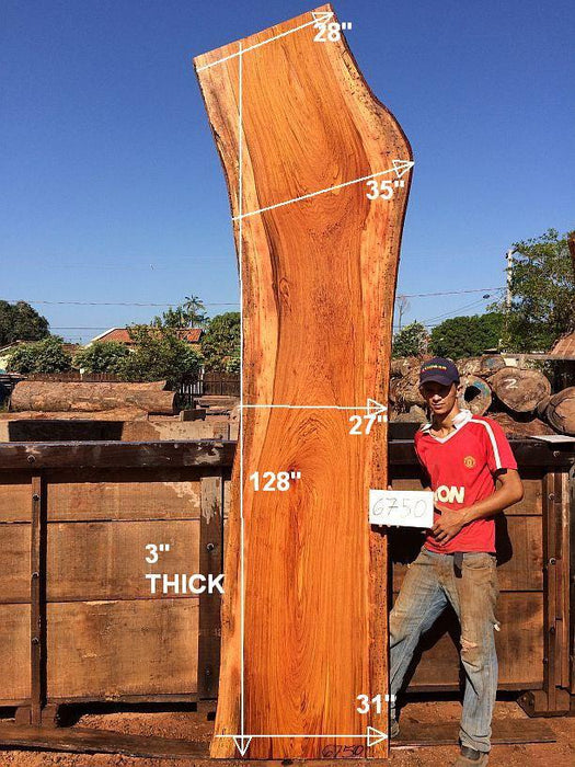 "Jatoba / Brazilian Cherry #6750 - 3"" x 27"" to 35"" x 128"" FREE SHIPPING within the Contiguous US. - Big Wood Slabs"