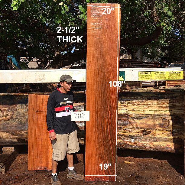 "Jatoba / Brazilian Cherry #7112 - 2-1/2"" x 19"" to 20"" x 108"" FREE SHIPPING within the Contiguous US. - Big Wood Slabs"