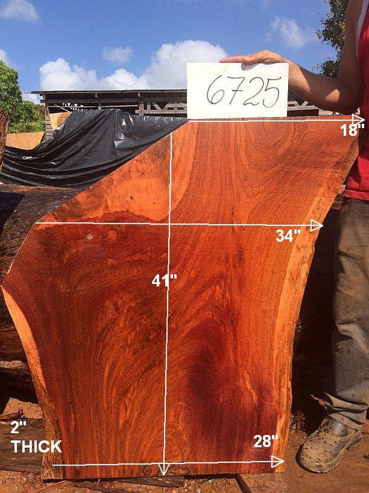 "Jatoba / Brazilian Cherry #6725- 2"" x 18"" to 34"" x 41"" FREE SHIPPING within the Contiguous US. - Big Wood Slabs"