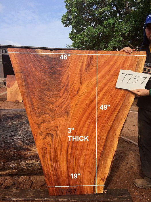 "Jatoba / Brazilian Cherry #7757- 3"" x 19"" to 46"" x 49"" FREE SHIPPING within the Contiguous US. - Big Wood Slabs"