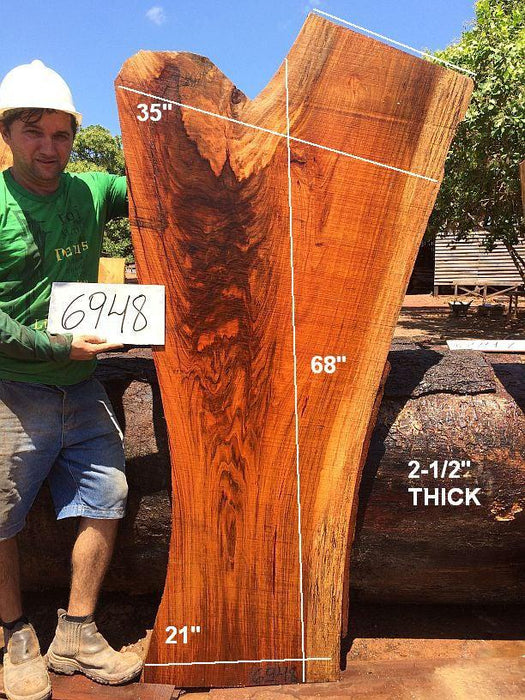 "Jatoba / Brazilian Cherry #6948 - 2-1/2"" x 21"" to 35"" x 68"" FREE SHIPPING within the Contiguous US. - Big Wood Slabs"
