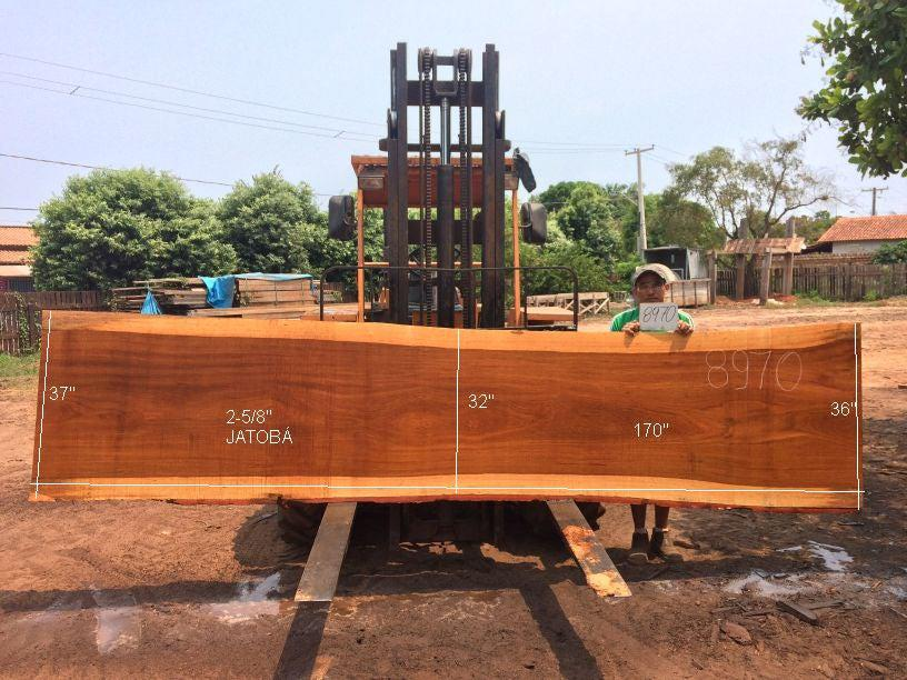 "Jatoba / Brazilian Cherry #8970– 2-5/8"" x 32"" to 37"" x 170"" FREE SHIPPING within the Contiguous US. - Big Wood Slabs"