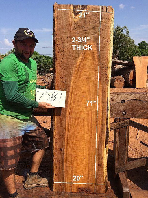 "Fava Timborana #7581- 2-3/4"" x 20"" to 21"" x 71"" FREE SHIPPING within the Contiguous US. - Big Wood Slabs"