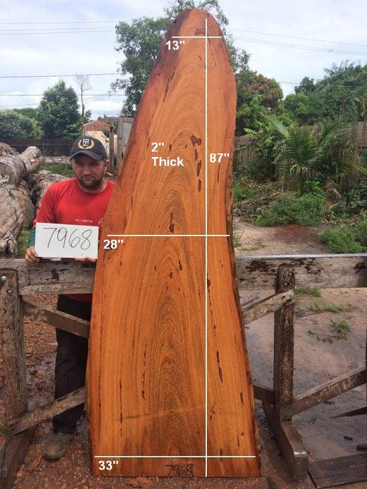 "Angelim Pedra #7968 - 2"" x 33"" x 87"" - Big Wood Slabs"
