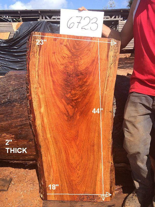 "Jatoba / Brazilian Cherry #6723- 2"" x 18"" to 23"" x 44"" FREE SHIPPING within the Contiguous US. - Big Wood Slabs"