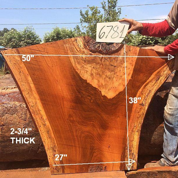 "Jatoba / Brazilian Cherry #6781- 2-3/4"" x 27"" to 50"" x 38"" FREE SHIPPING within the Contiguous US. - Big Wood Slabs"