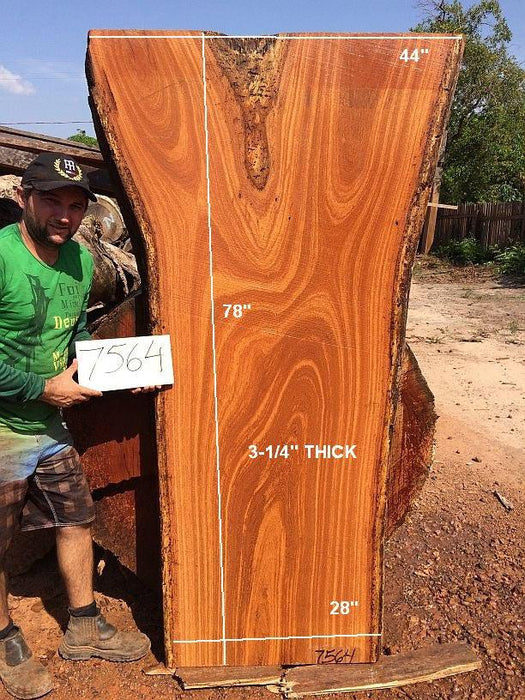 "Angelim Pedra #7564 - 3-1/4"" x 28"" to 44"" x 78"" - Big Wood Slabs"