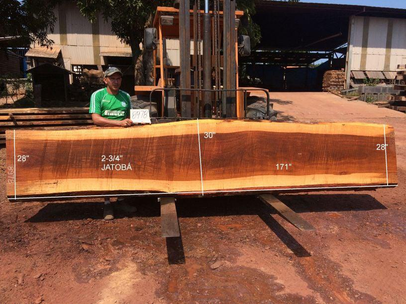 Jatoba / Brazilian Cherry #8978 – 2-3/4″ x 28″ to 30″ x 171″ FREE SHIPPING within the Contiguous US. - Big Wood Slabs